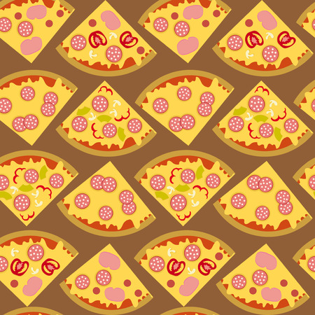 pizza ingredients: Seamless with piece of pizza