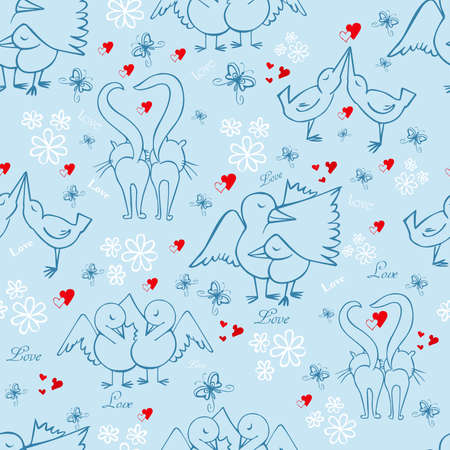 Seamless pattern for valentine's day with birds, cats, butterflies, flowers, red hearts on a blue background Standard-Bild - 161774828