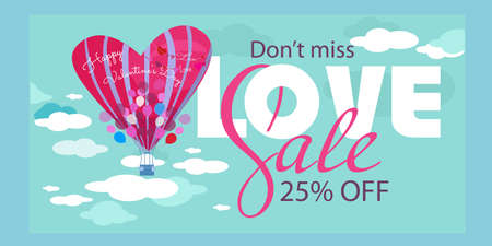 Happy Valentine's Day poster sale offer design with baloon in the sky Illusztráció