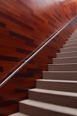 airy texture: stairway with handrail diagonally framed Stock Photo