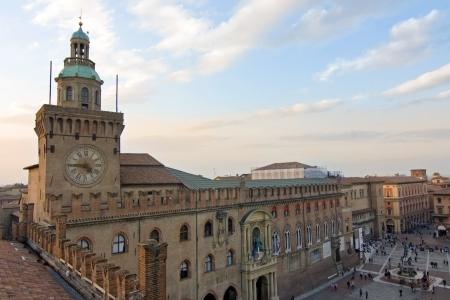 view of accursio palace - bologna, italy