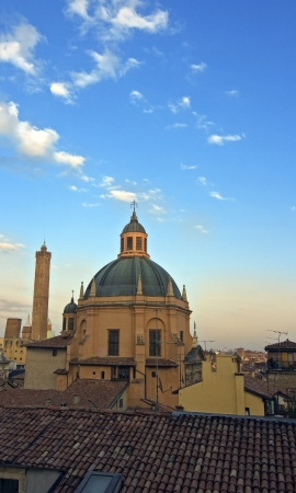 emilia romagna: view of asinelli tower - bologna, italy