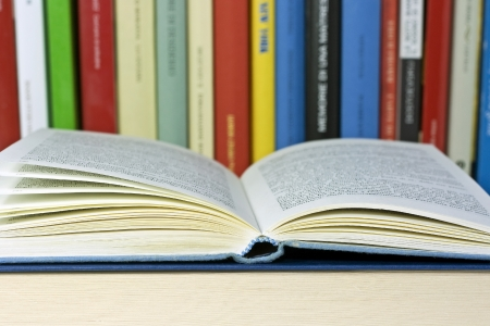 syllabus: colored books isolated Stock Photo