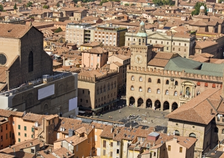 Main square aerial view for asinelli tower - bologna Stock Photo