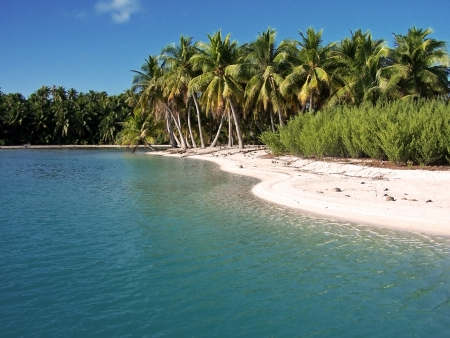 barrier island: Fantastic color and unique location in Polinesia Stock Photo