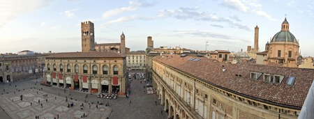 bologna: A panoramic view of main square - bologna, italy