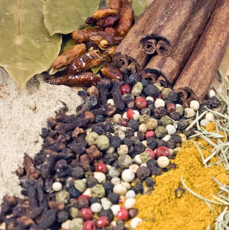 Seamless texture with spices and herbs photo