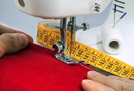 zigzagger: sewing process in the phase of overstitching Stock Photo