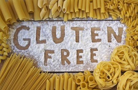 gluten free word with wood background Archivio Fotografico