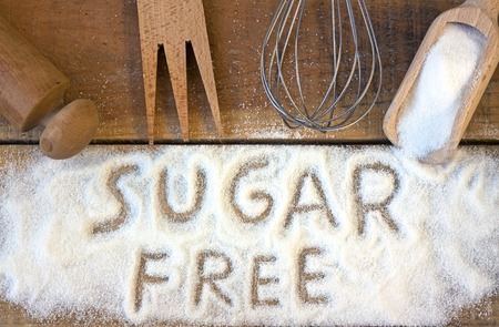 sugar cube: a sugar free word with background - still life Stock Photo