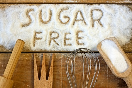 allergic foods: a sugar free word with background - still life Stock Photo