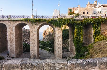 urbanistic: view of Polignano a Mare - italy - Apulia
