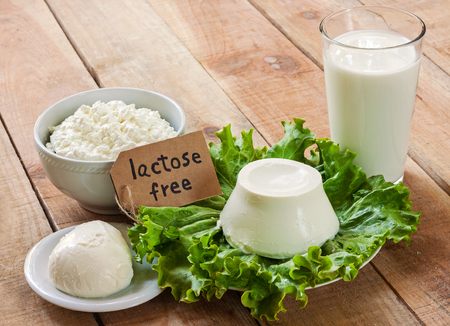 lactose free intolerance - food with background