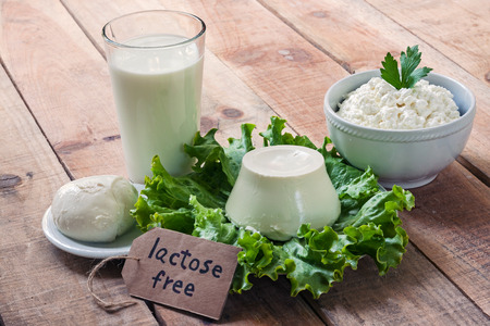 lactose intolerant: lactose free intolerance - food with background