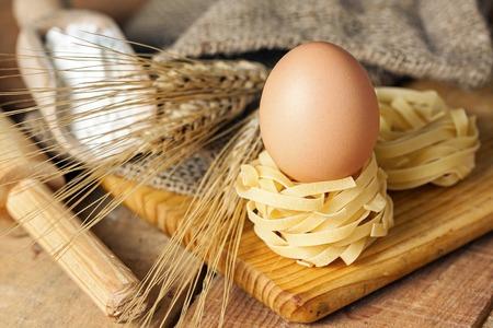 maccheroni: Spaghetti nest and eggs - food