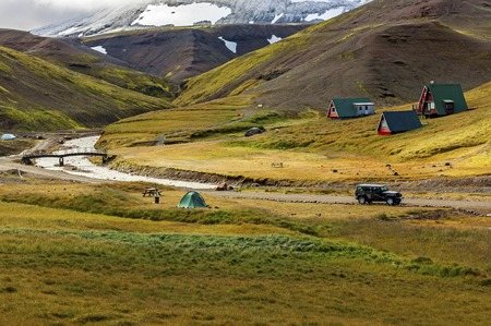typical green houses with gras roof in iceland - iceland Reklamní fotografie