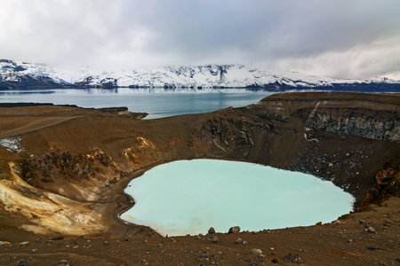Panoramic view of geothermal lake Viti at the crater of Askja - Iceland