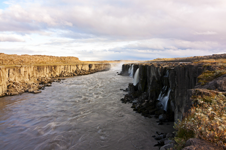 panoramic view of selfoss waterfall - iceland