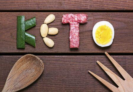 diet, keto word on wood background - food