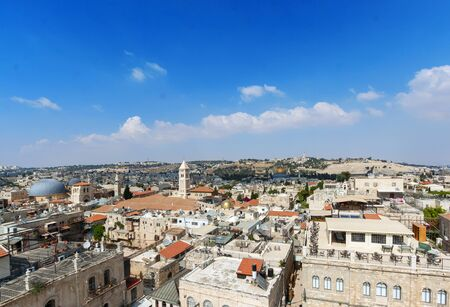 Panoramic view of Jerusalem with Dome of the rock and Temple Mount from Mount of Olives, Israel