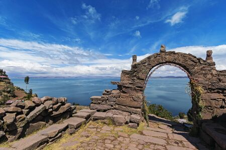 One of the arches of the Taquile Island located on Titicaca Lake, Perù
