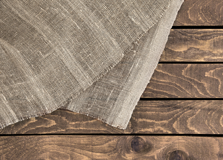 hessian: Hessian texture on wooden table