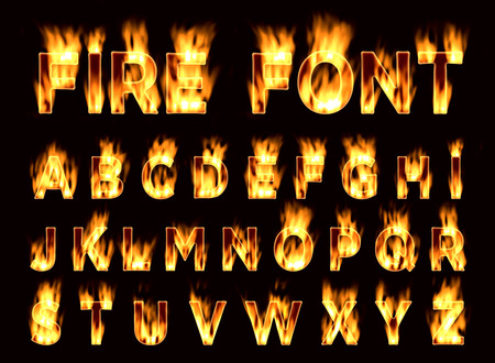 fiery: Fire font. Plum letters. Characters in the fire. Font on fire. Stock Photo