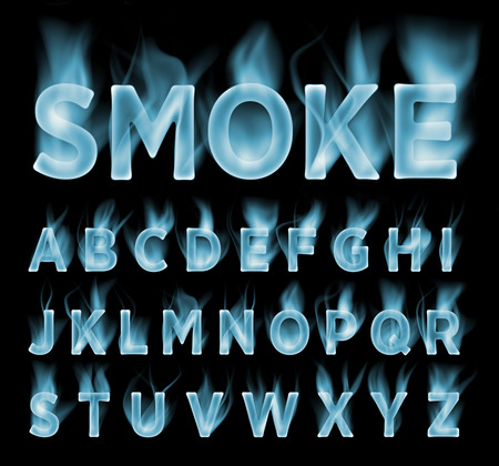 smoke background: Smoke font collection. Fog and clouds font. Gas font. Dark smoke letter.