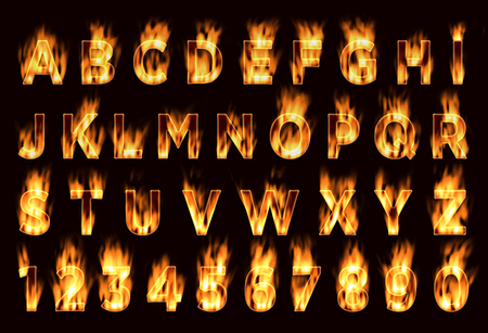 set: Fire font. Plum letters. Characters in the fire. Font on fire. Stock Photo