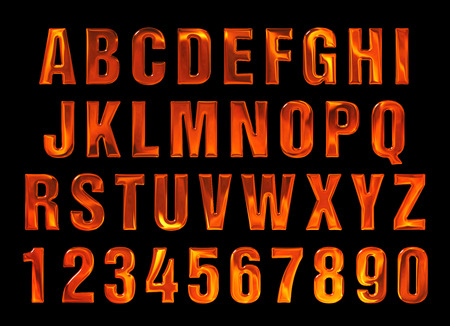 metal letters: fire text. Alphabet of fire. red-hot metal text