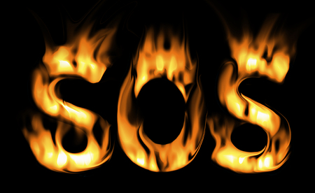 fire alarm: sos fire text. the fire alarm. symbol of fire