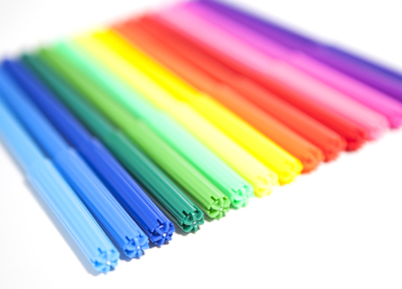 felt tip: Colorful Felt Tip Pens .Multicolored Felt-Tip Pens .Multicolored Felt-Tip Pens isolated on a white background . Stock Photo