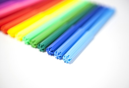 fine tip: Color felt-tip pens on a white background Stock Photo