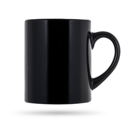 Black mug empty blank for coffee or tea isolated on white background