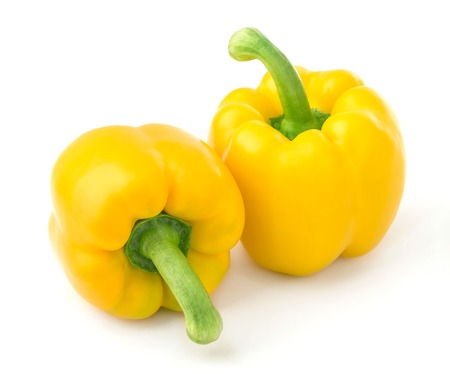 pimiento: Group of sweet yellow peppers isolated on white background. With clipping path