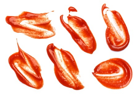 catsup: Collection of ketchup stains on white background.