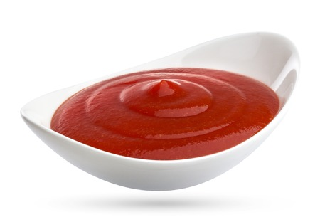 catsup: Ketchup in bowl isolated on white background. Portion of tomato sauce.
