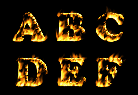 burning alphabet: Fire font collection, Fire text collection. Alphabet of flame