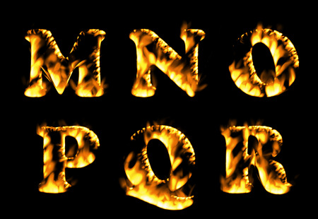 burning alphabet: Fire burning letters set, Fire text collection. Alphabet of flame Stock Photo