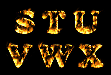 burning alphabet: Fire text collection. Alphabet of flame, Fire text collection. Alphabet of flame