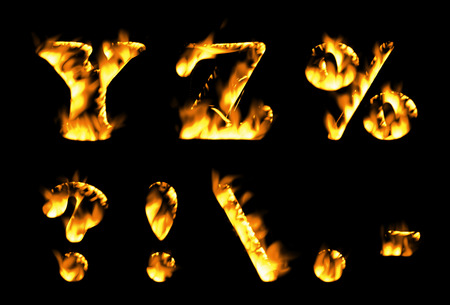 flame alphabet: Fire text collection. Alphabet of flame, Fire text collection. Alphabet of flame