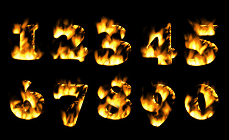 burning alphabet: Fire number, Fire text collection. Alphabet of flame, Fire text collection. Alphabet of flame