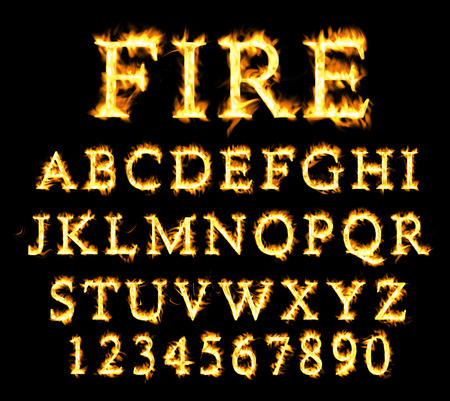 lettre de l alphabet: collection de polices de feu, le feu collection de texte. Alphabet de la flamme Banque d'images
