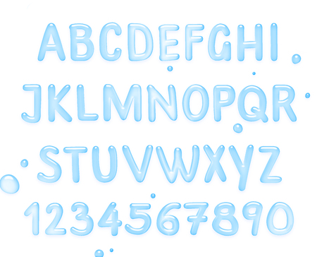 Water font. Alphabet of Water, Latin alphabet made of water. 版權商用圖片