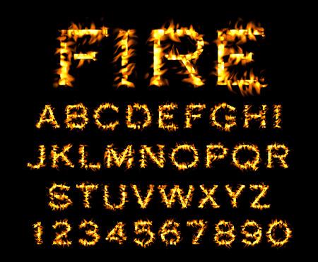 burning alphabet: fire font Stock Photo