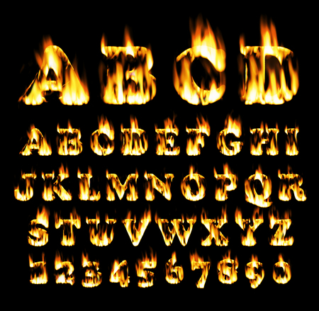 fiery: Fire font collection, Fire text collection. Alphabet of flame