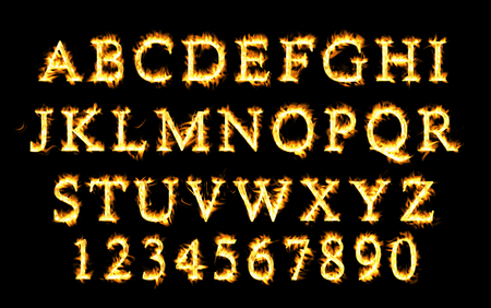 flame alphabet: Fire font collection, Fire text collection. Alphabet of flame
