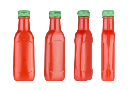 frontal view: Plastic ketchup bottle isolated on a white background. Different views. Stock Photo