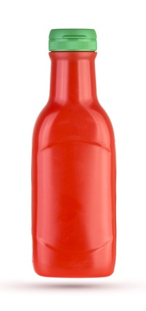 Plastic ketchup bottle isolated on a white background.
