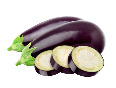 One fresh eggplant isolated on white background Banco de Imagens